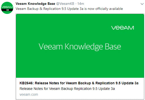 Veeam Backup and Replication 9 5 Update 3a Released