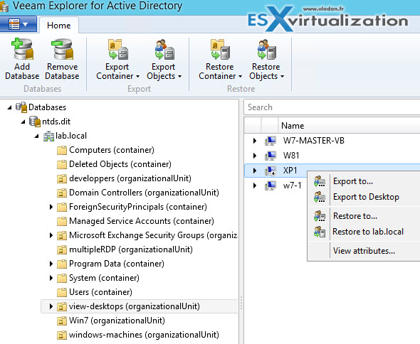 Veeam Explorer for Active Directory (VEAD) - How-to use