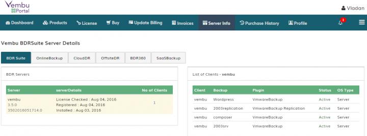Vembu BDR suite Online Server Details