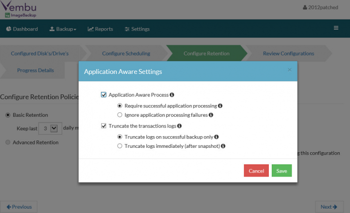 Vembu ImageBackup - Application Aware Settings