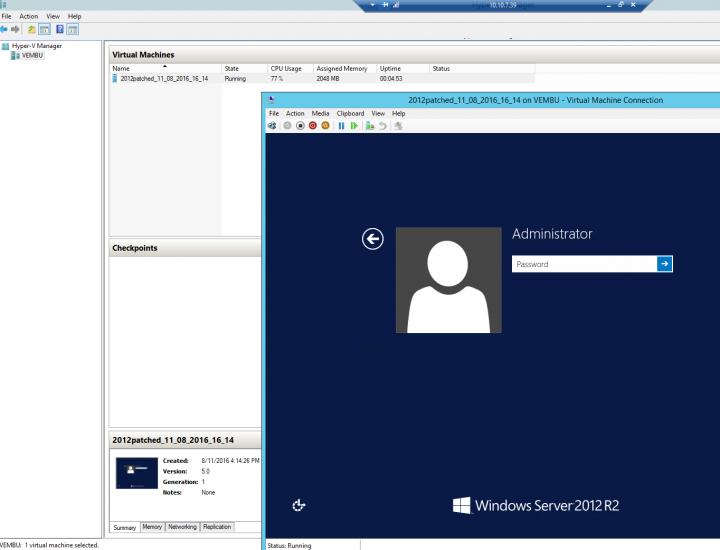 Vembu ImageBackup - Instant VM Recovery - VM up and running