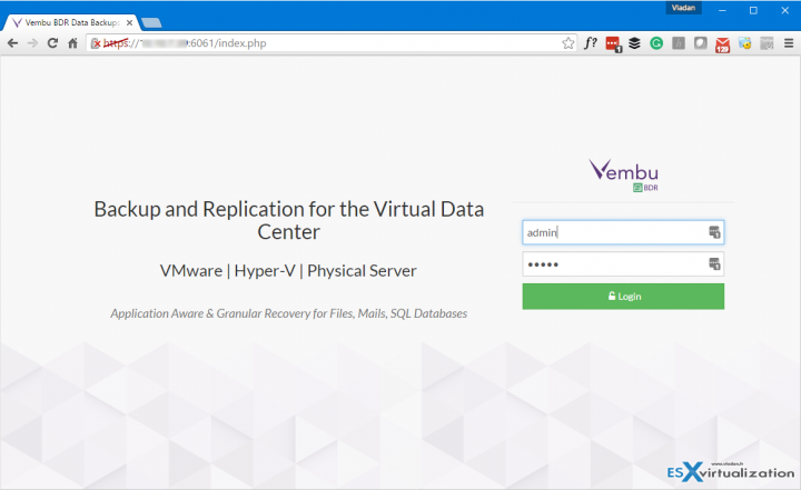 Vembu VM Backup Login Screen
