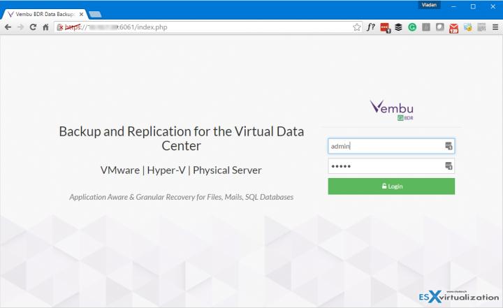 Vembu VM Backup Login Screen