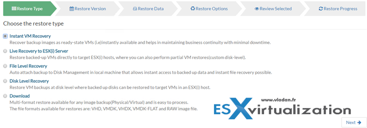 Vembu BDR Suite Recovery Options