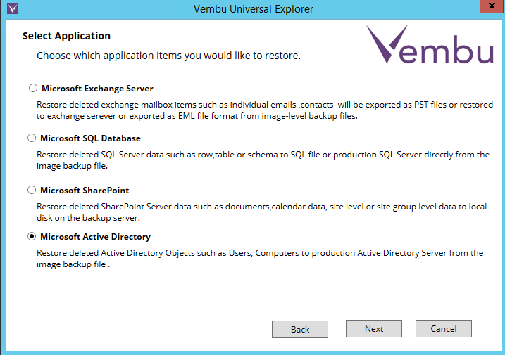 Vembu Universal Explorer - Recovery of Microsoft AD object
