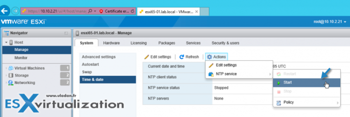 Where to Start NTP Service on ESXi host