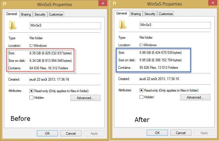 reduce windows 8 winsxs folder size