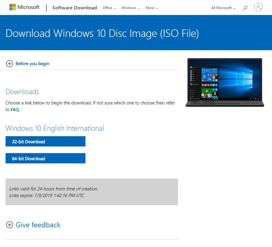 Windows 10 Direct download links | ESX Virtualization