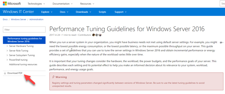 Windows Server 2016 Performance Tuning