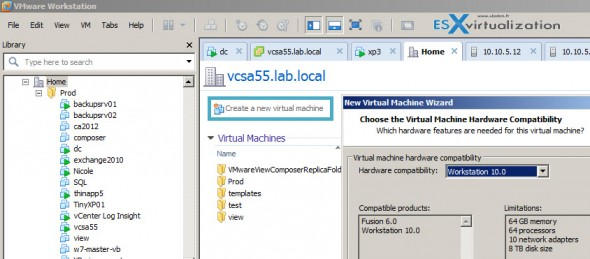VMware Workstation 10 allows creating New VMs on ESXi 5.5 with latest virtual hardware 10 functionality