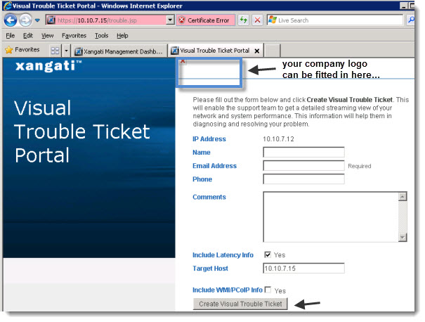 Xangati visual trouble ticket portal