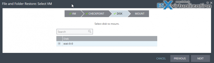 Zerto Journal File Level Recovery - Select Virtual Disk to mount