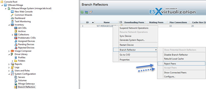 Accept or Reject Peers in Branch Reflector Settings VMware Mirage