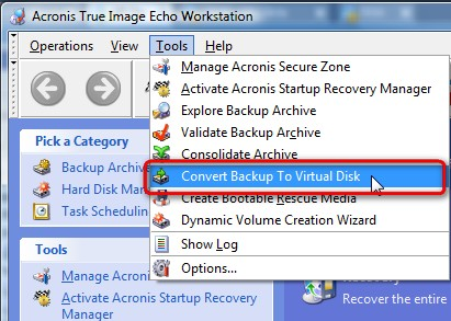 How-to convert your Acronis file Backup into virtual disk