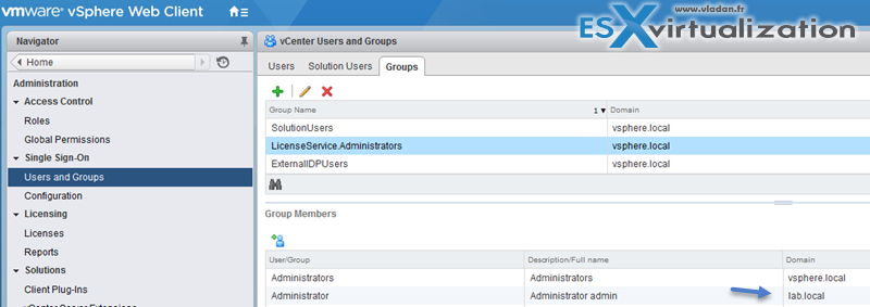 Domain Admin in the vSphere.local's administrator's group