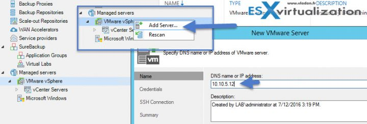 How to Restore vCenter VM with Veeam Instant Recovery - Add Management Server