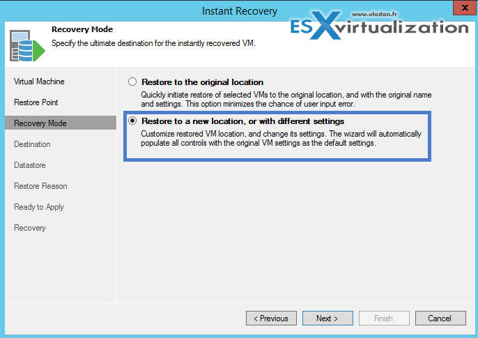 How to restore vCenter VM with Veeam Instant Recovery
