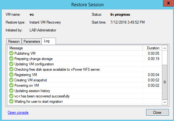 How to restore vCenter server VM with Veeam Instant Recovery