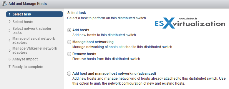 Add Host to vDS