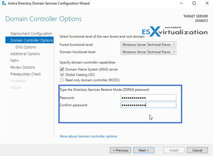 Windows Server 2016 Active Directory Install config