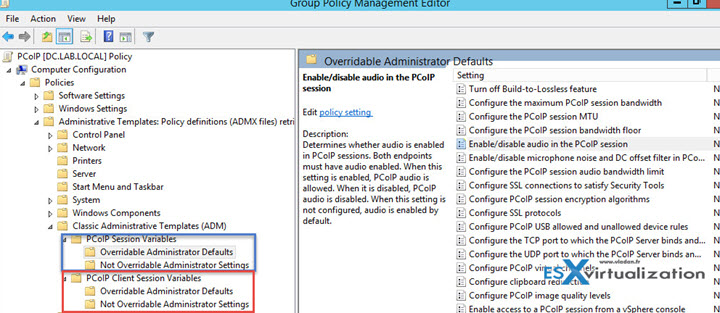 Client PCoIP settings and PCoIP general settings