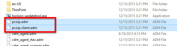 PCoIP adm files