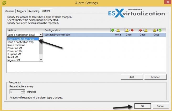 How-to create alarm in VMware vSphere for VM running on snapshot