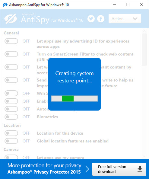 Windows 10 AntiSpy from Ashampoo