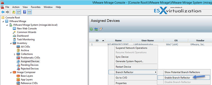 Configure Branch Reflector in VMware Mirage