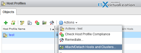 Attach Host Profile to Host/cluster