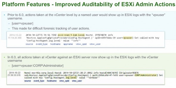 ESXi 6.0 Improved Auditability of ESXi Administrator Actions
