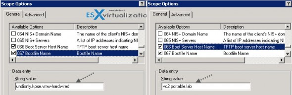 DHCP server scope options for VMware vSphere AutoDeploy
