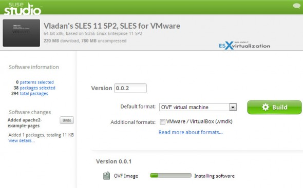 Creating VMware Branded Virtual  Appliance running SLES
