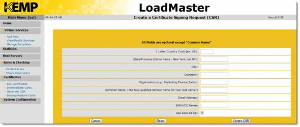 Certificate Signing Request Form - LoadMaster VLM by KEMP Technologies
