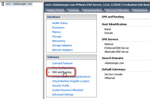 Change DNS and Routing ESX Server through VI GUI