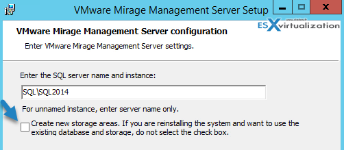 Do not check the checkbox for creating new storage areas