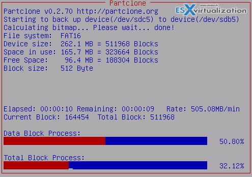 CloneZilla ESXi USB to USB cloning