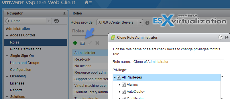 Clone, Edit, Add, Remove Role in vSphere 6