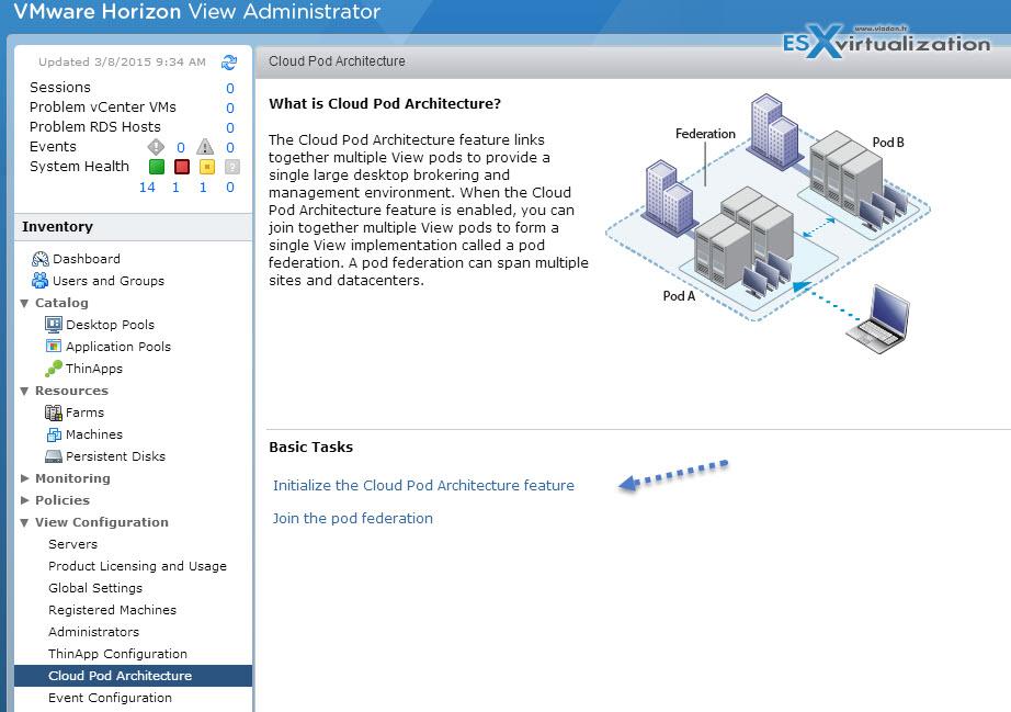 VMware Horizon View 6.1 Cloud Pod Architecture enhancements