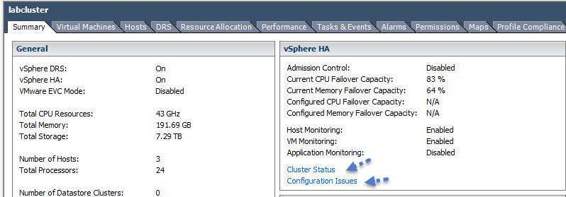 VMware vSphere Cluster Operational Status and Configuration Issues