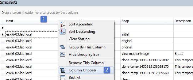 Chose a column to show