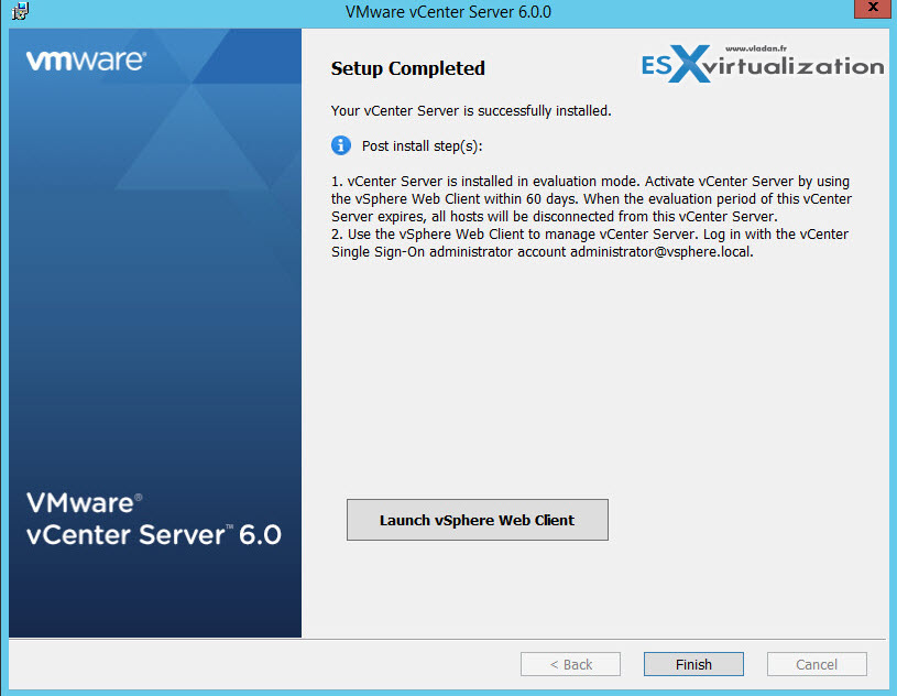 vSphere 6.0 vCenter Server 6 Windows 2012 R2 Install Guide (With External SQL Server DB)