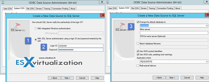 Setup ODBC for Horizon Composer Database