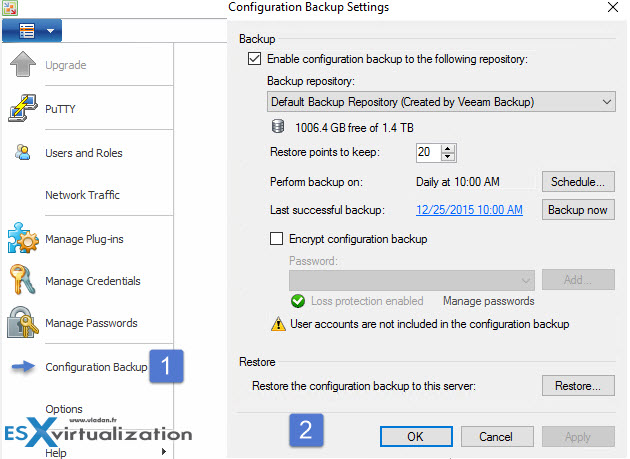 Veeam Configuration Backup