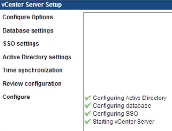 vCSA Config, AD, SSO, DB, Services
