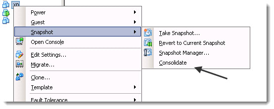 consolidating snapshots in VMware vSphere-5