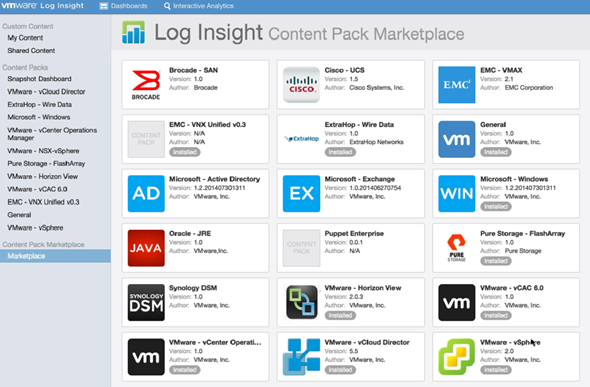 Log Insight 2.5 - content packs marketplace
