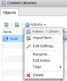 Content Library - Possible actions