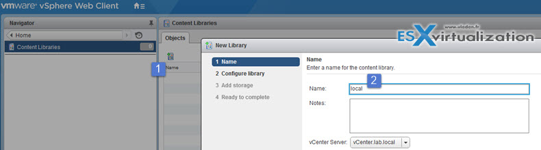 create a content library in the vSphere Web Client
