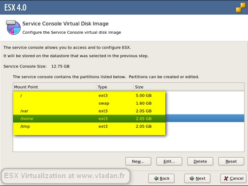 custom partitions VMware ESX4